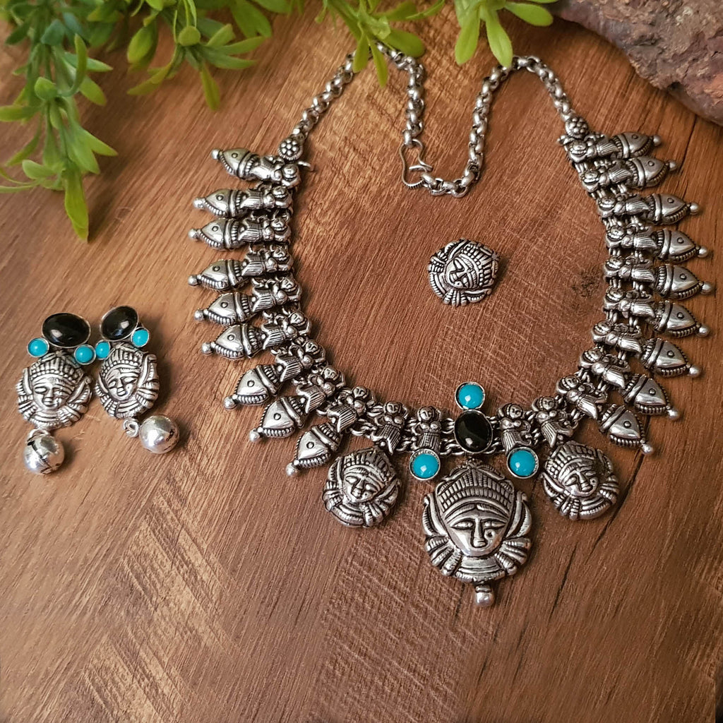 Oxidised German Silver Durga Design Kolhapuri Necklace Set With Nose Pin