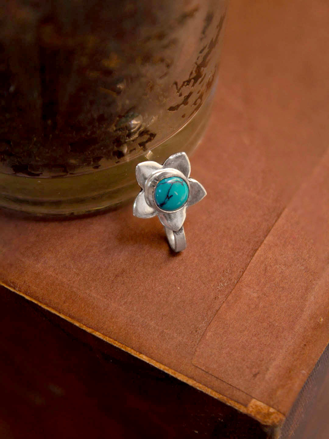 Oxidized Silver Plated Floral Design Turquoise Color Plastic Stone Nose Pin For Women-OXIDIZED-Nose Pin