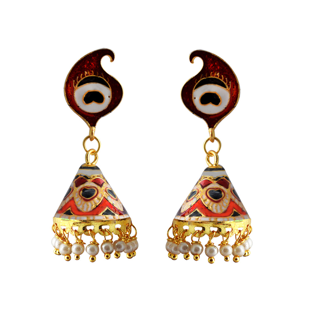 Mk Jewellers Black And Red Color Meenakari Peacock Feather Cone Jhumka Earring-MK JEWELLERS1-Earring