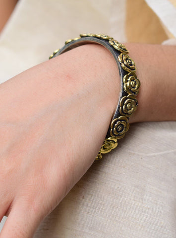 Oxidized Metal Bangle- Golden Rose Pattern