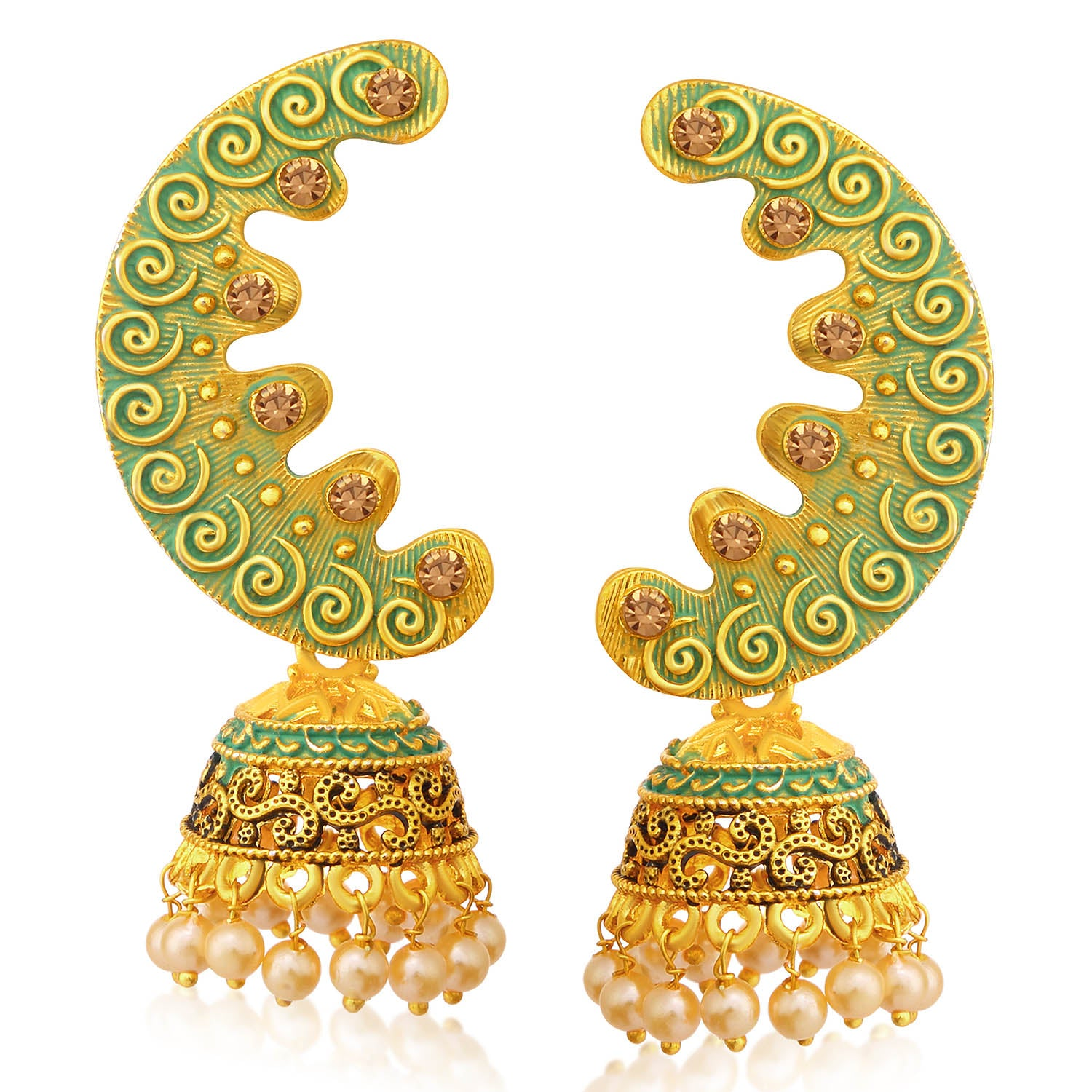 Sukkhi Designer LCT Stone Gold Plated Pearl Sky Blue Mint Meena Collection Chandbali Jhumki Earring For Women-SUKKHI1-Earring