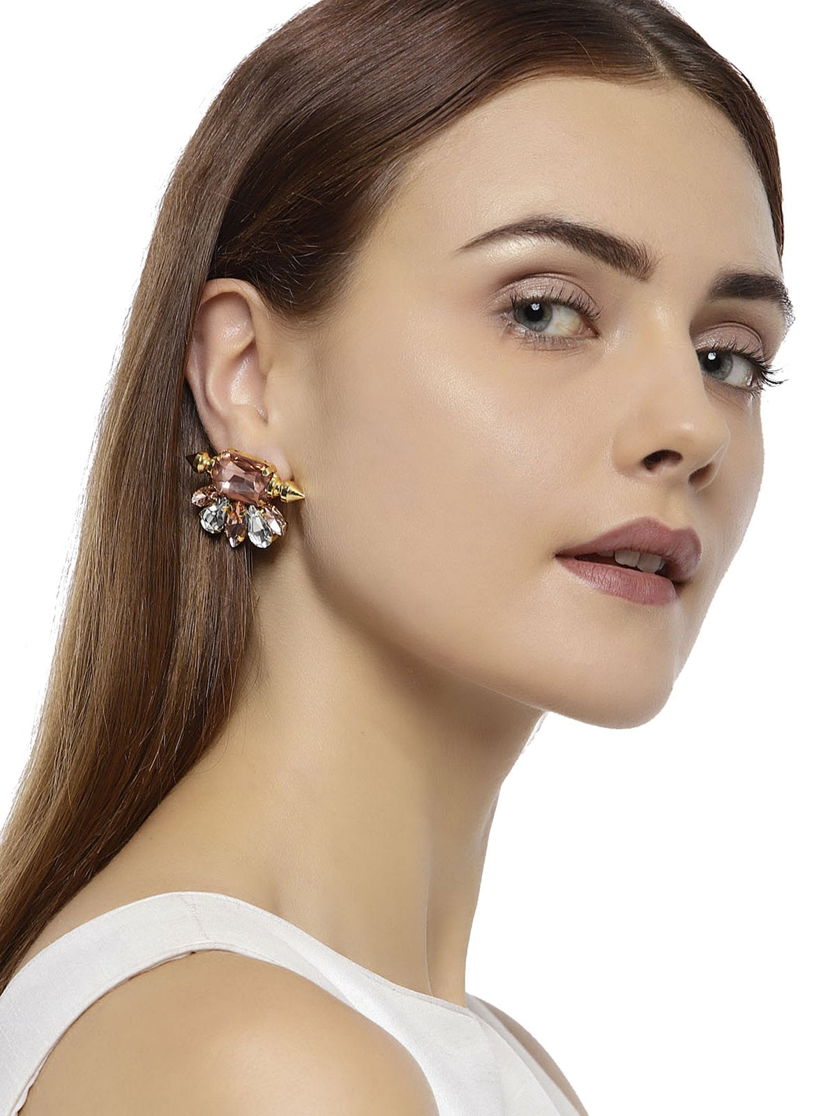 Gold Tone Crystal Shine Stones Contemporary Stud Earring