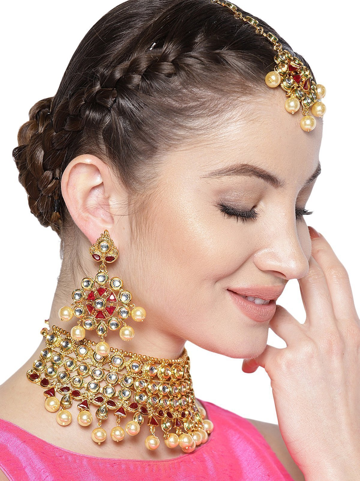 Zaveri Pearls Gold Tone Kundan & Pearl Drops Bridal Choker Necklace Set