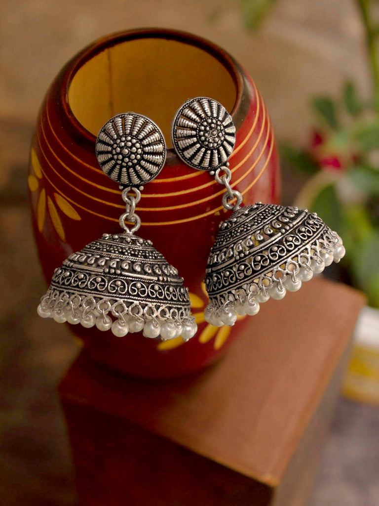Oxidized Silver Plated Floral Design With Hanging Pearls Jhumka Earring-OXIDIZED-Earring