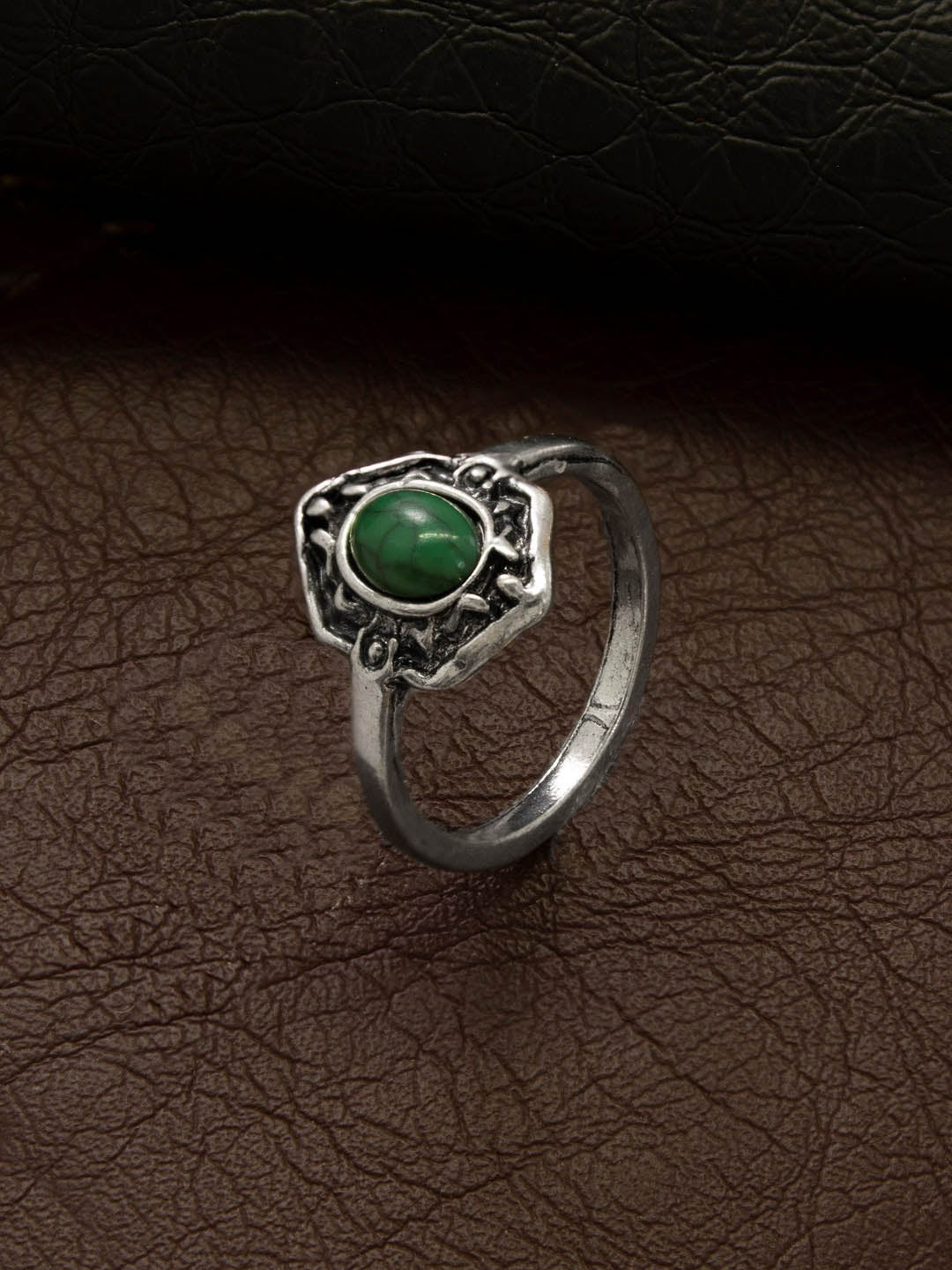 Aana Oxidised Silver Plated Geometric Design Green Color Stone Finger Ring-AANA-Finger Ring