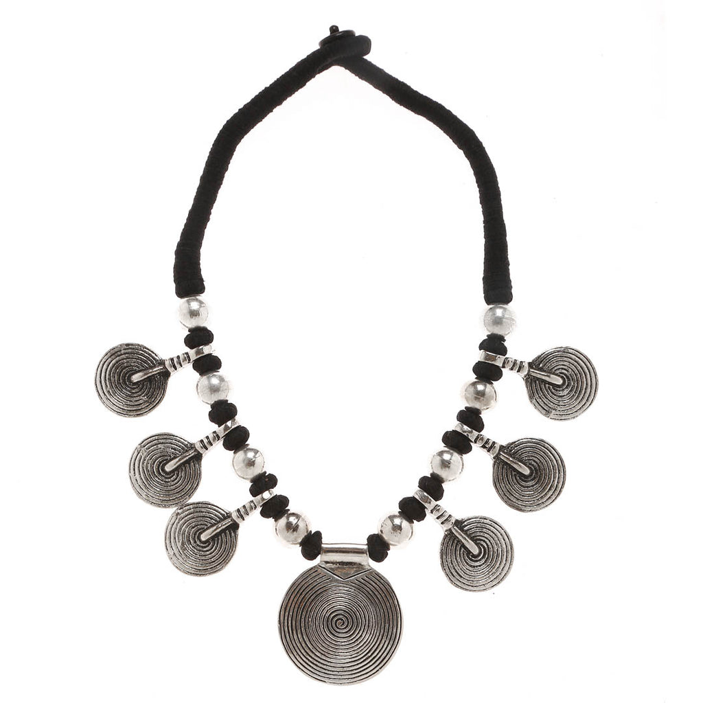 Oxidised Silver Plated With Black Color Beads Choker Necklace With Coin Shape Design Motifs By Imli Street-IMLI STREET-Necklace