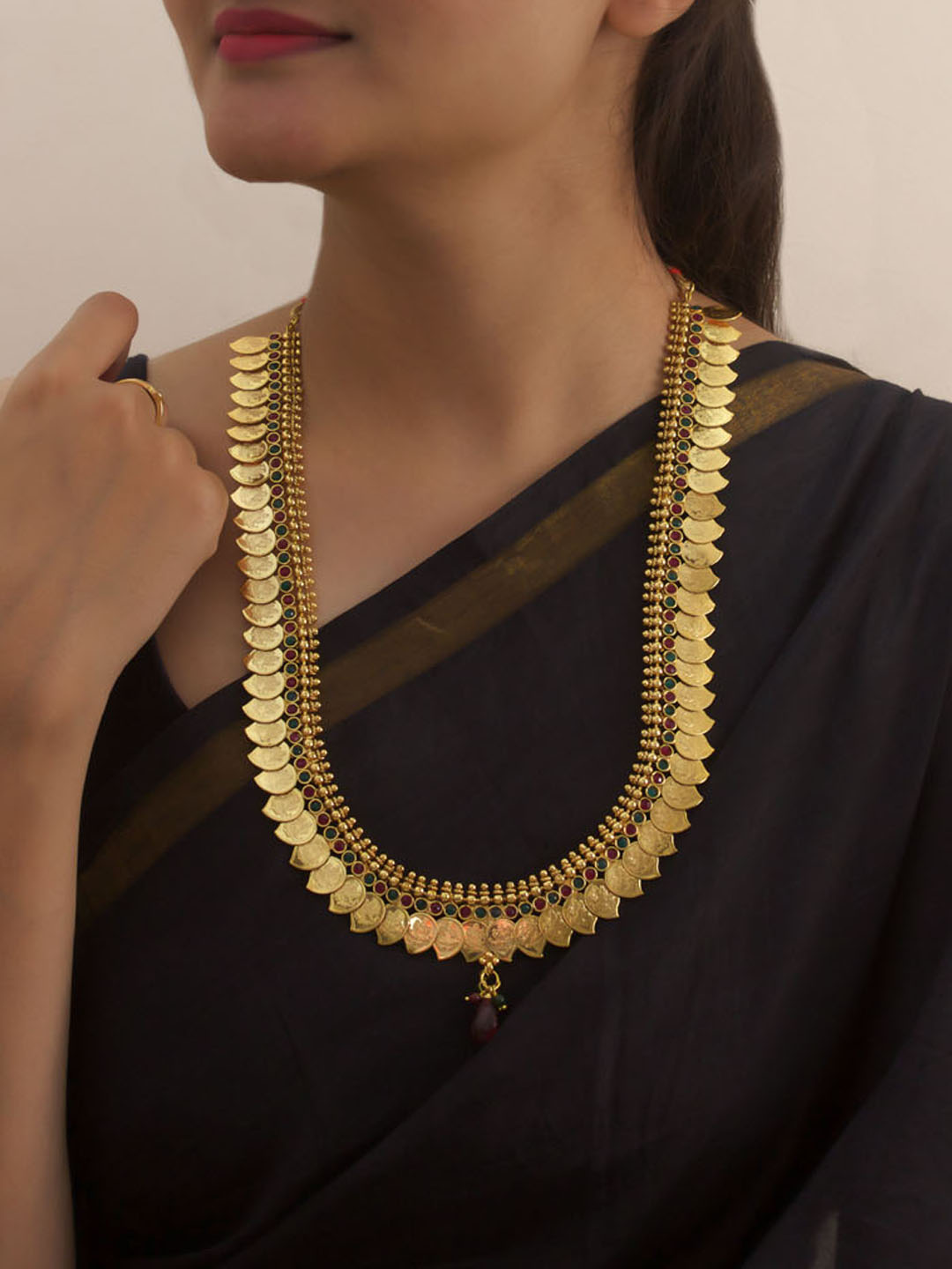Antique Gold Plated Lakshmi Design Temple Jewelry Coin Necklace By Avismaya-AVISMAYA-Necklace