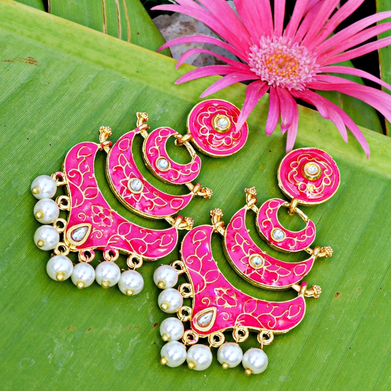 Classic Meenakari Pink Double Layer Gold Plated Chaand Bali Dangler Earring