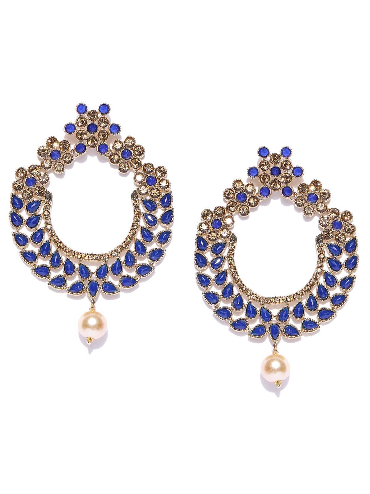 Zaveri Pearls Gold Tone Traditional Dangle And Pearl Drop Earring