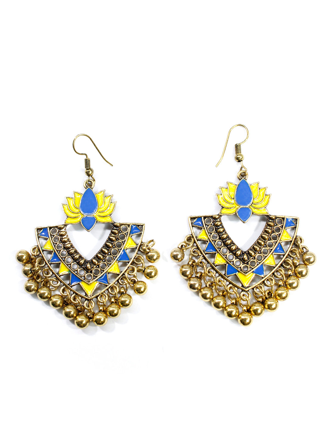 Aana Gold Plated Yellow And Blue Color Lotus Design Afghani Earring-AANA1-Earring
