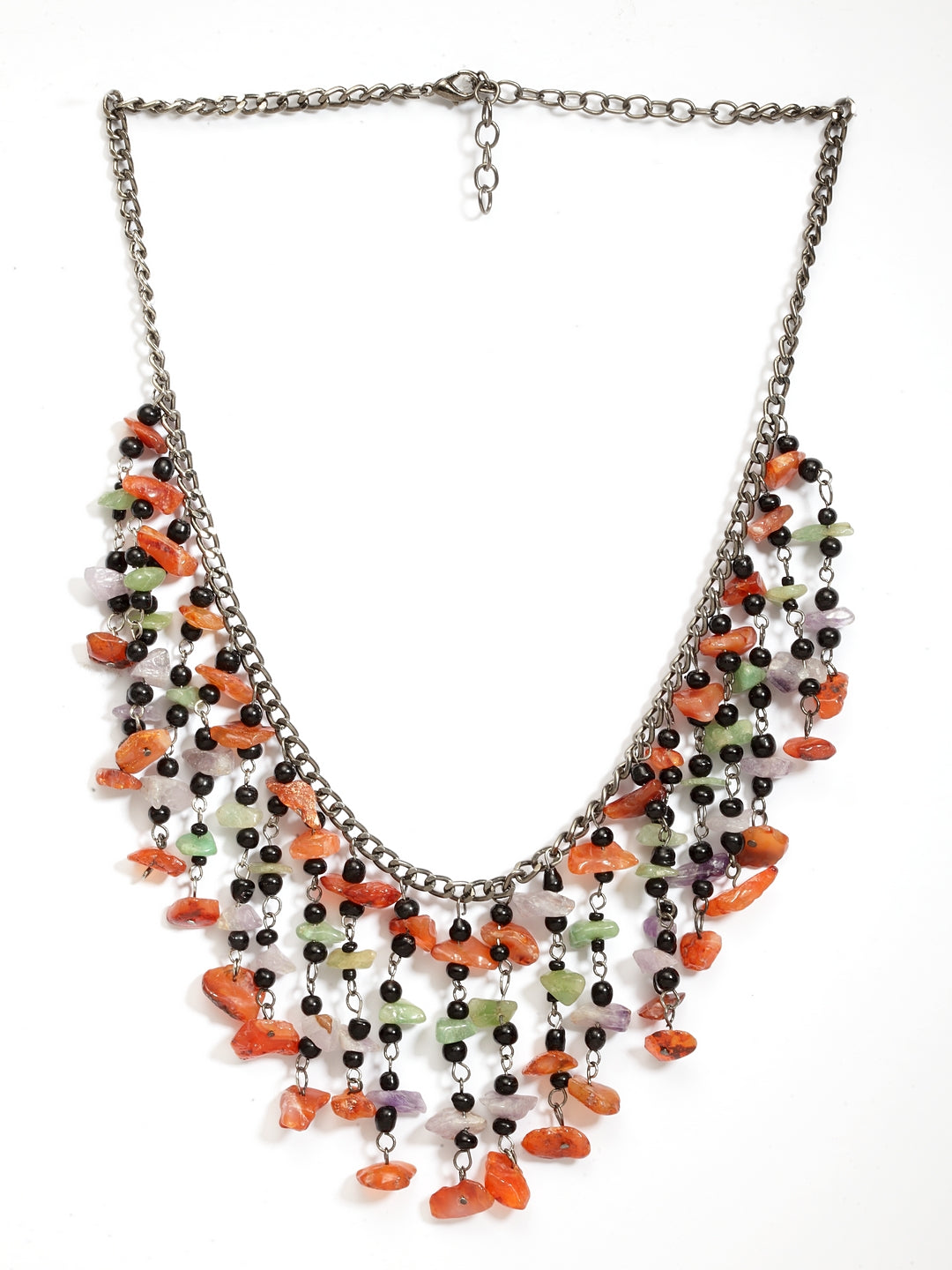Pretty Multicolored With Semi Precious Stones Fashion Necklace-ARADHYAA JEWEL ARTS-Necklace