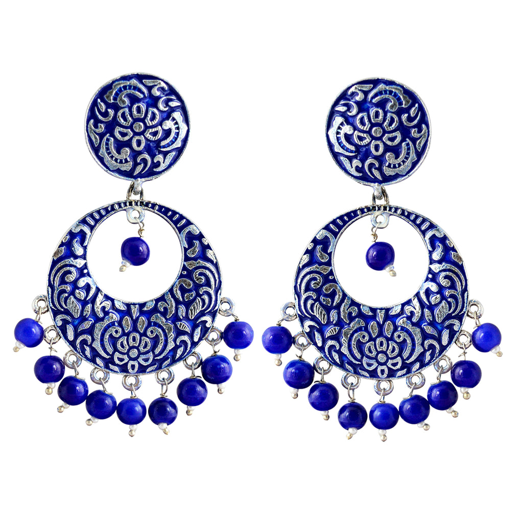 MK Jewellers Navy Blue Bali Dangler Earrings-MK JEWELLERS1-Earring