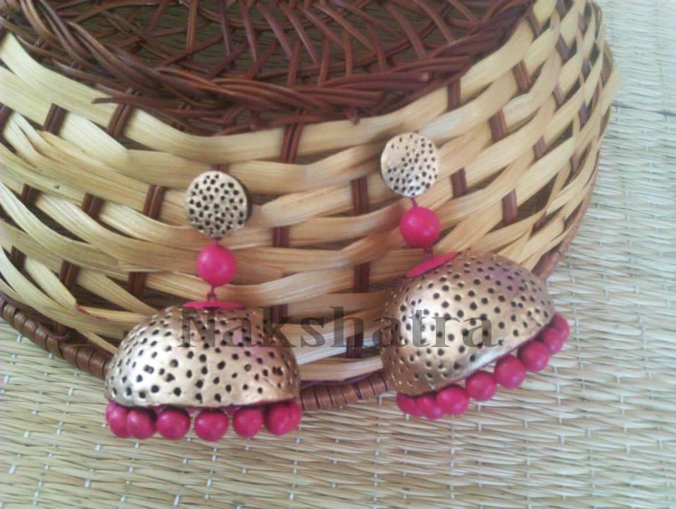 Gold And Pink Terracotta Jhumka By Nakshatra