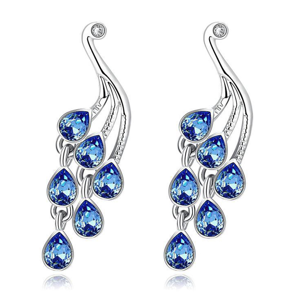 Sukkhi Rhodium Plated Blue Crystal Stone Peacock Design Drop Earring-SUKKHI-Earring