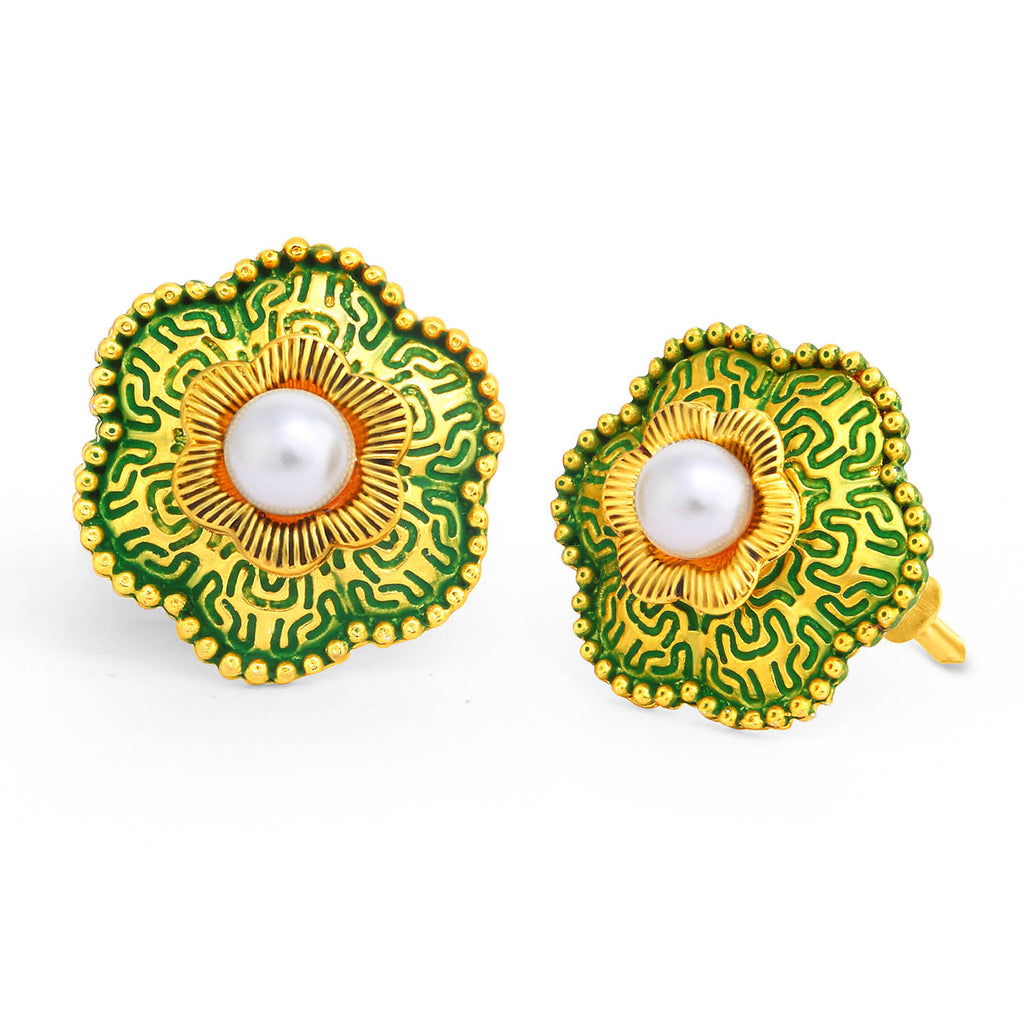 Sukkhi Glimmery Gold Plated Pearl Green Mint Meena Collection Floral Stud Earring For Women-SUKKHI1-Earring