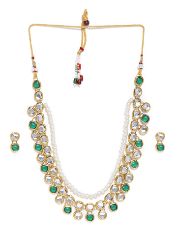 Zaveri Pearls Gold Tone Traditional Kundan And Pearls Necklace Set