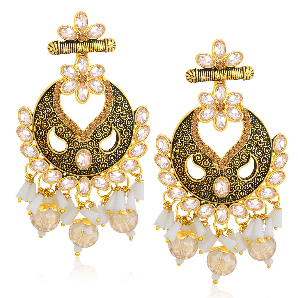 Sukkhi Fascinating LCT Stone Gold Plated Floral Chandelier Earring For Women-SUKKHI1-Earring