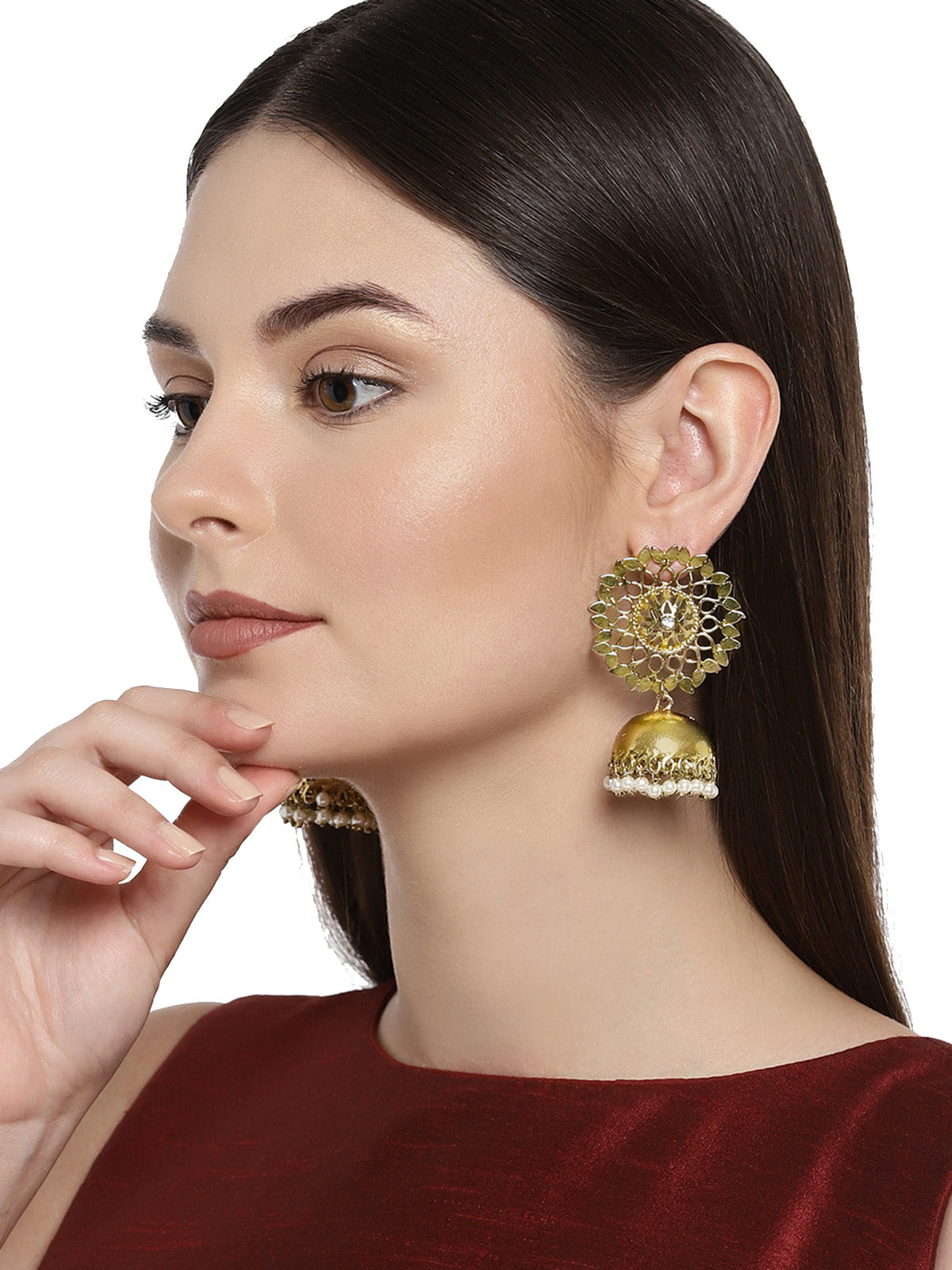 Zaveri Pearls Gold Plated Dome Shape Jhumki Earring