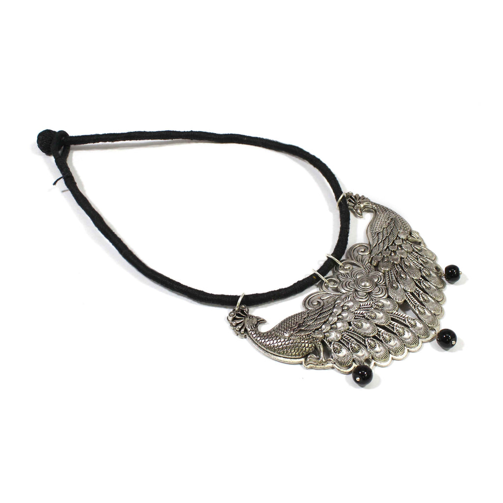 German Silver Oxidized Peacock Design Pendant with Silk Dori