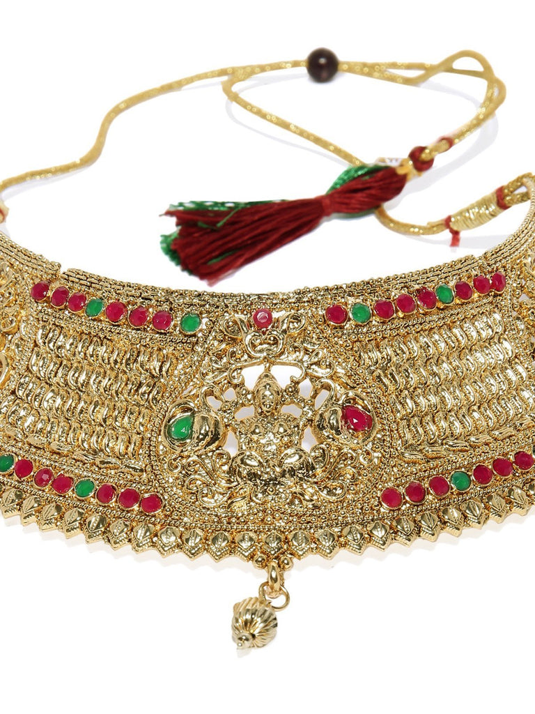 Gold Tone Finely Detailed Temple Choker Necklace Set