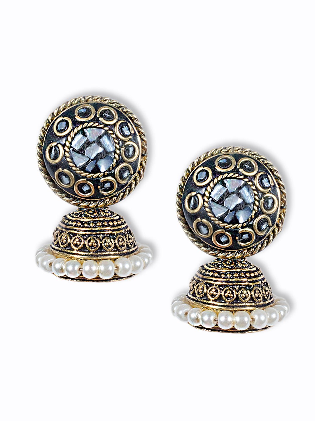 White Colour Shell Jhumka Earring