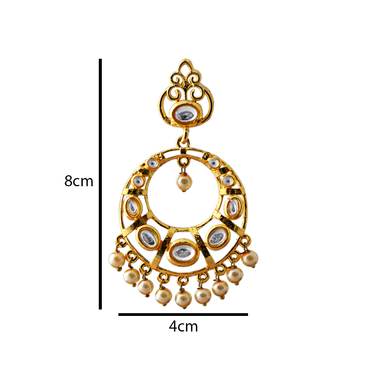 Gold Plated With Kundan Stone Dangler Earrings-MK JEWELLERS1-Earring