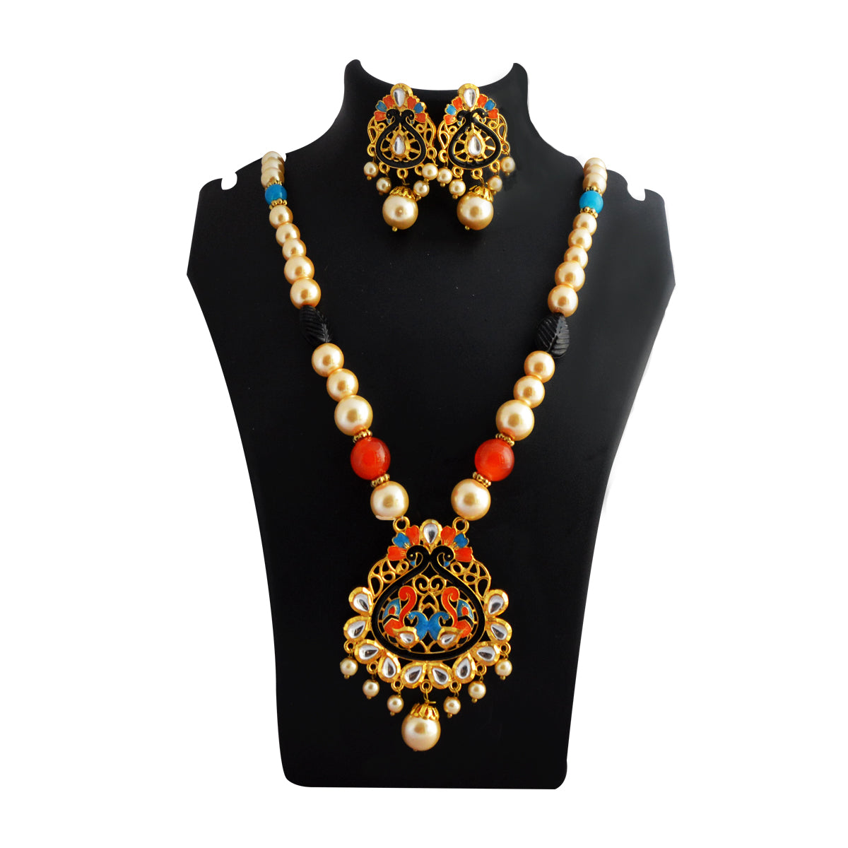 MK Jewellers Black And Red Color Meenakari Painting With Kundan Stone And Pearl Necklace Set-MK Jewellers-Necklace