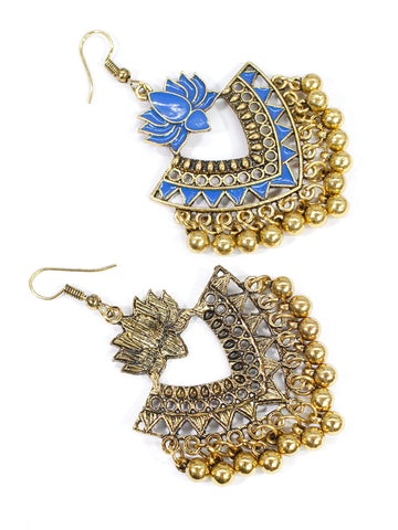Aana Gold Plated Blue Color Lotus Design Afghani Earring