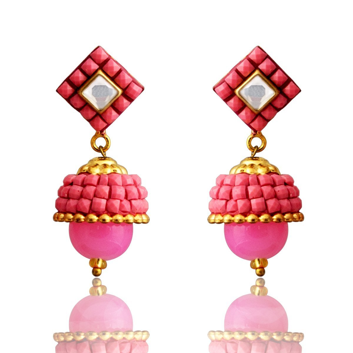 Fashion Earring Traditional Kundan Glass Beads Pink Earring