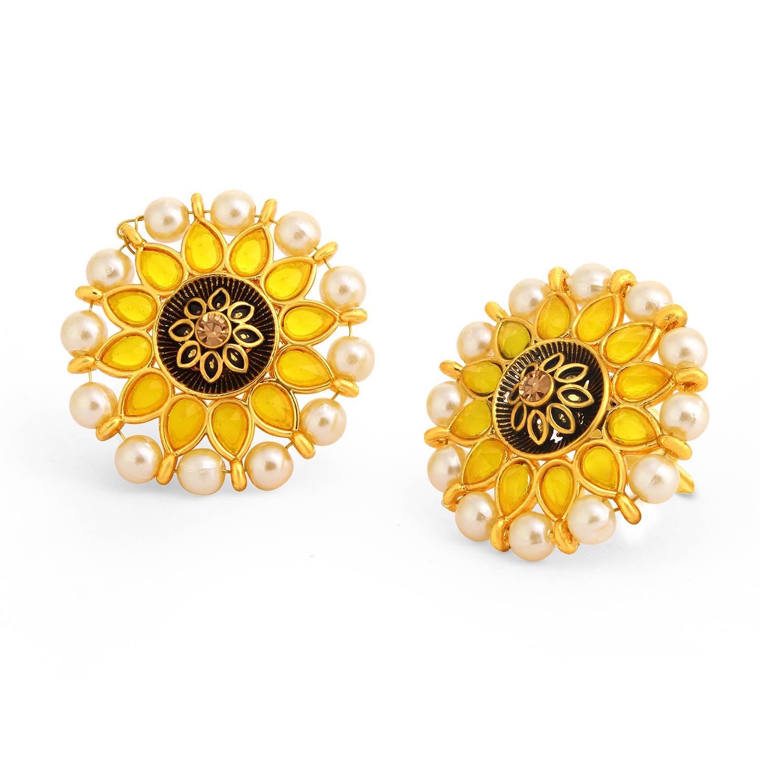 Sukkhi Glittery Floral Gold Plated Pearl Meenakari Stud Earring For Women-SUKKHI1-Earring