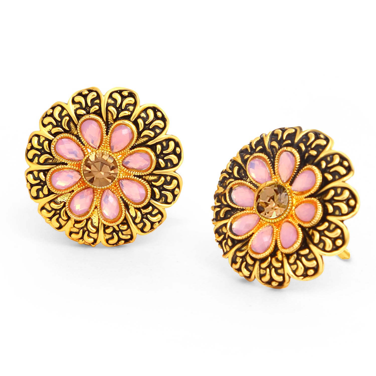 Sukkhi Marvellous LCT Stone Gold Plated Floral Stud Earring For Women-SUKKHI1-Earring