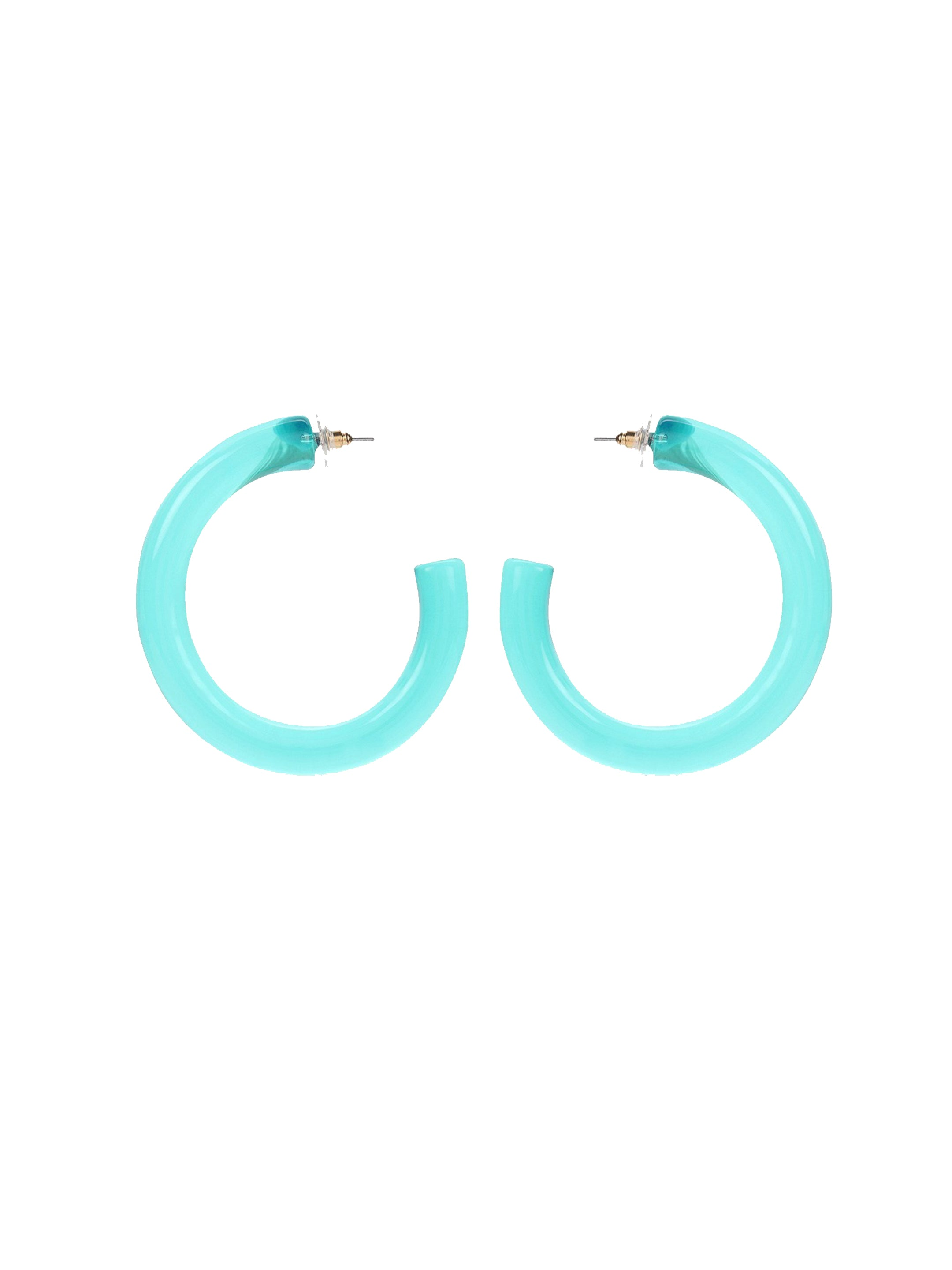 Aqua Blue Hoop Earrings-STYLE FIESTA-Earring