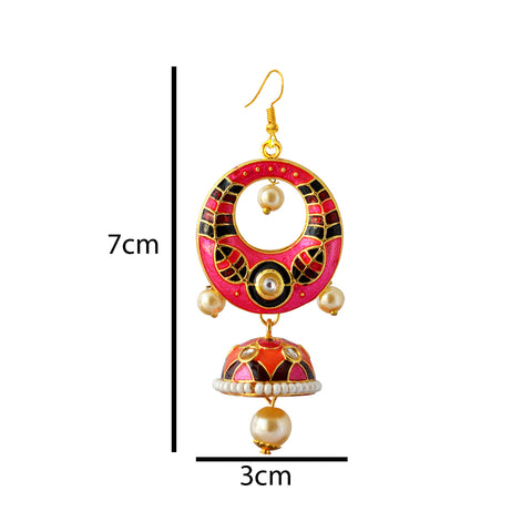 Pink And Maroon Meenakari Tribal Dual Half Moon Design With Kundan Earring