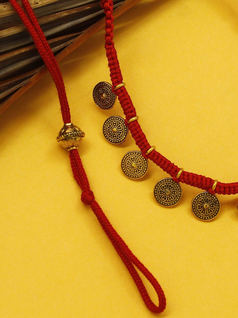 Shana Fashions Gold Plated Floral Design With Red Color Thread Handmade Coin Necklace Set-SHANA FASHIONS-Necklace Set