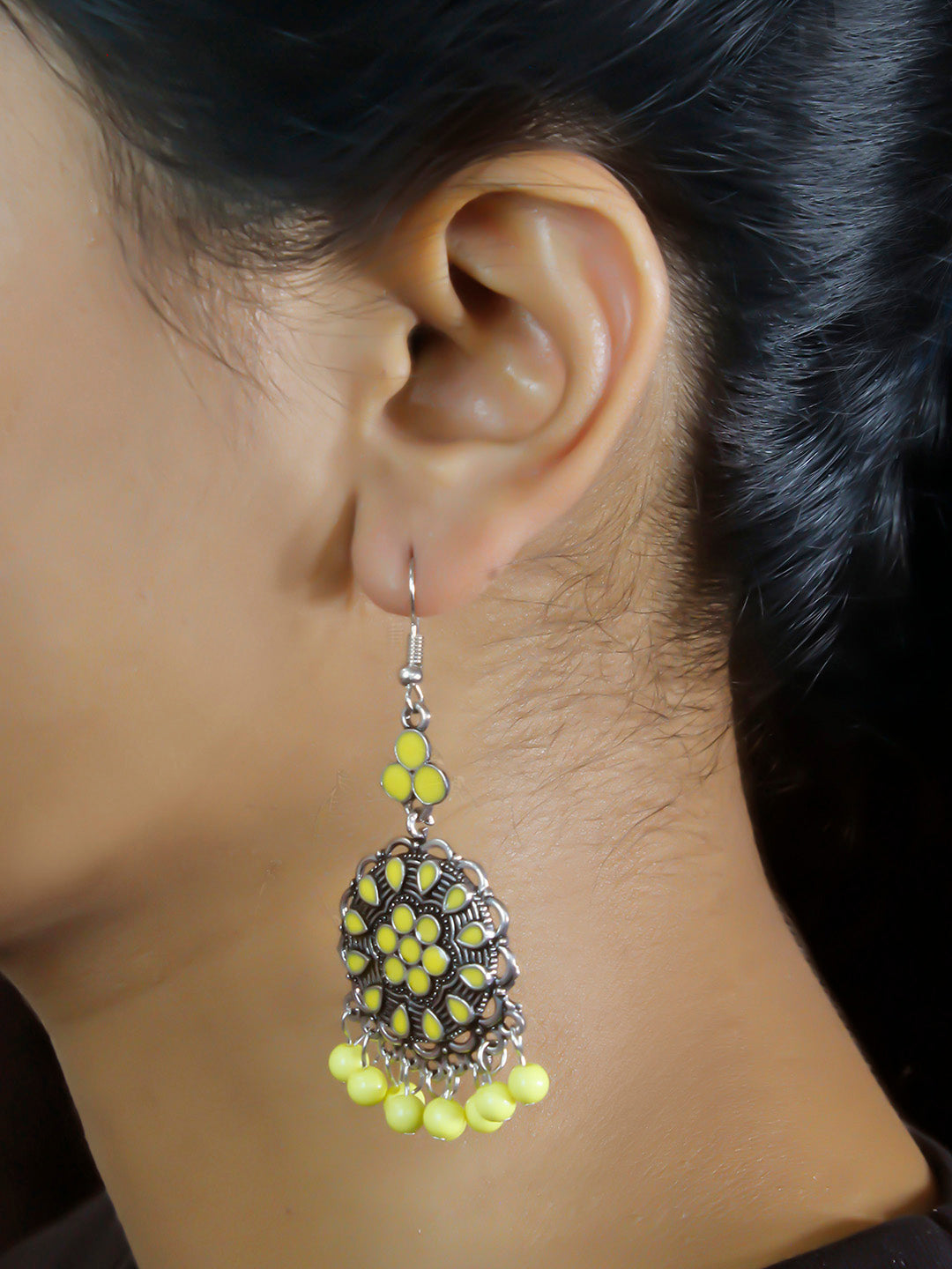 Aana Gold Plated Floral Design Yellow Earring