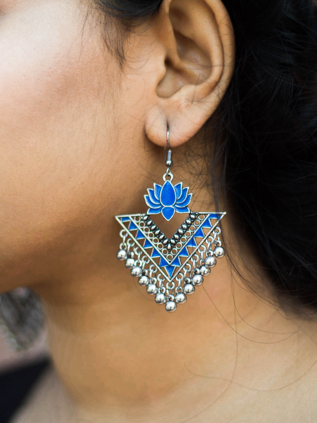 Aana Silver Plated Blue Color Lotus Design Afghani Earring