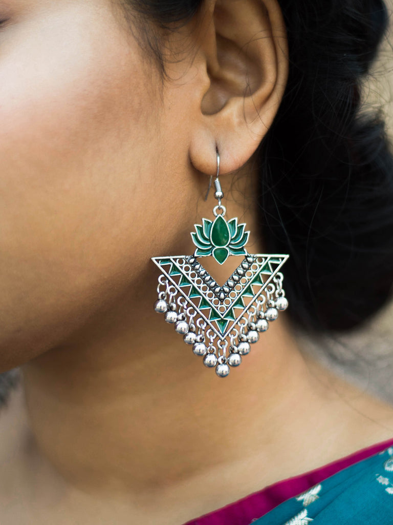 Aana Silver Plated Green Color Lotus Design Afghani Earring