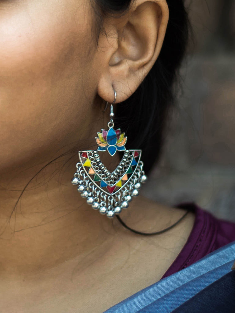 Aana Silver Plated Multicolor Lotus Design Afghani Earring