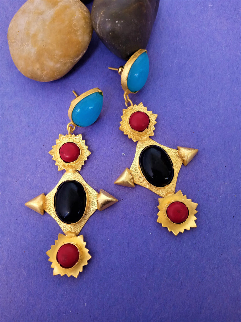 German Silver Gold & Red Earring