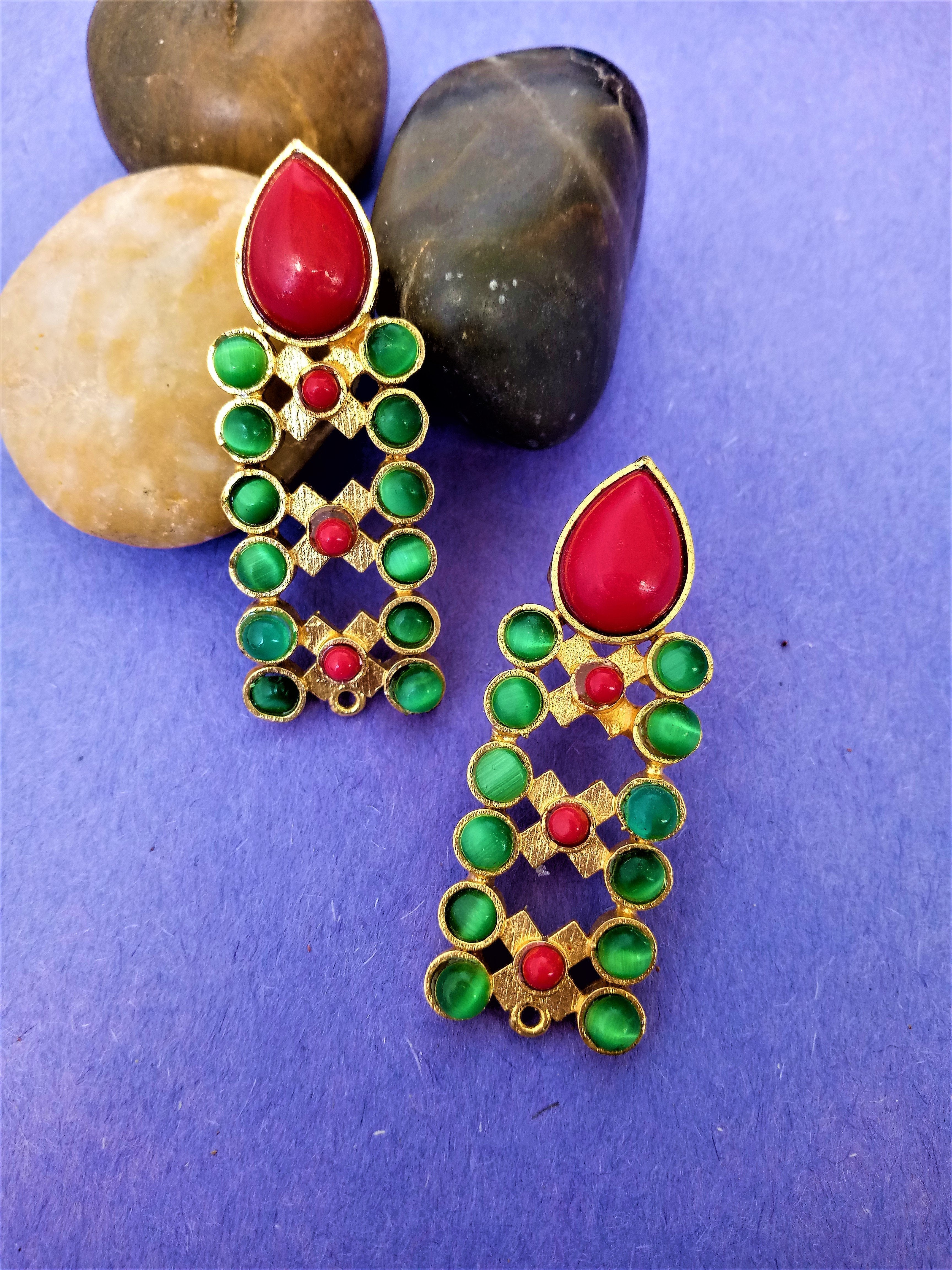 German Silver Red And Green Earring