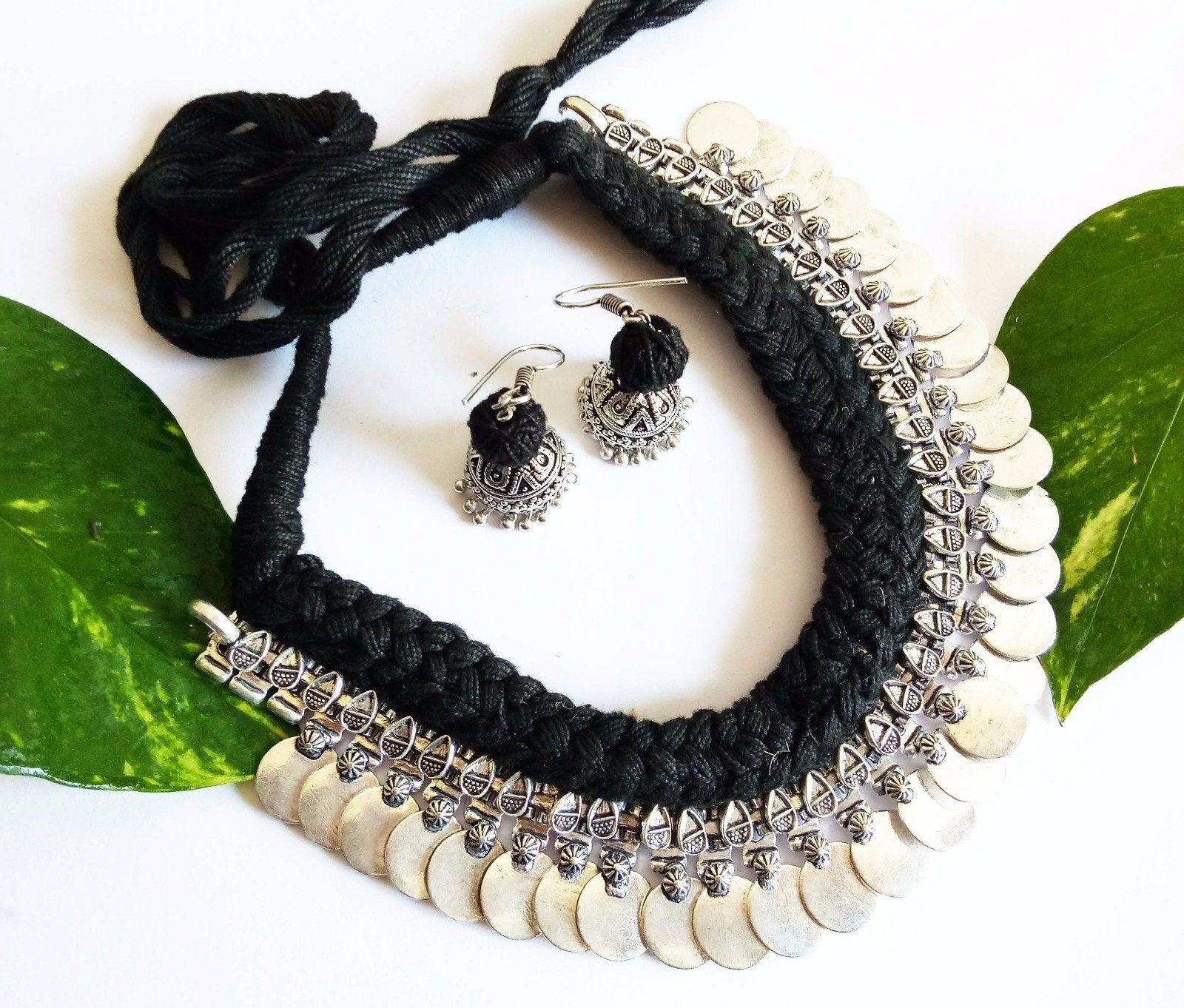 Black Braided German Silver Coin Necklace Set
