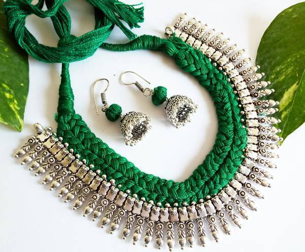 Green Braided German Silver Fringe Necklace Set