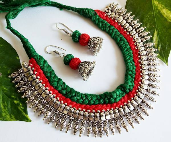 Red & Green Braided German Silver Necklace Set With Conches