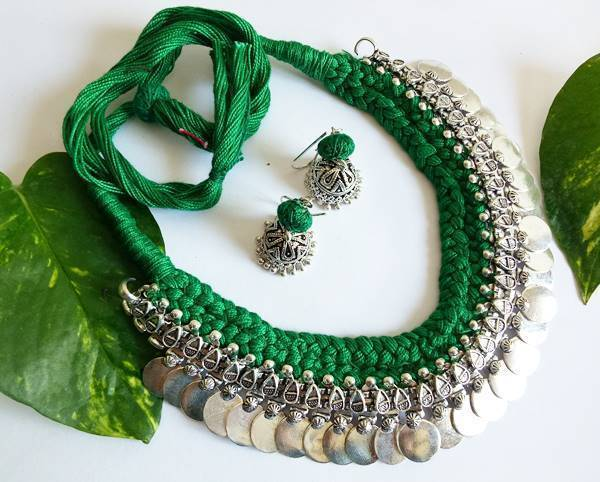 Green Braided German Silver Coin Necklace Set