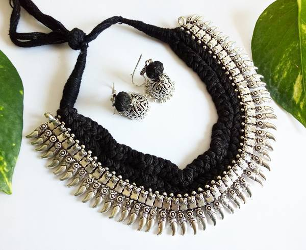 Black Braided German Silver Necklace Set With Spikes