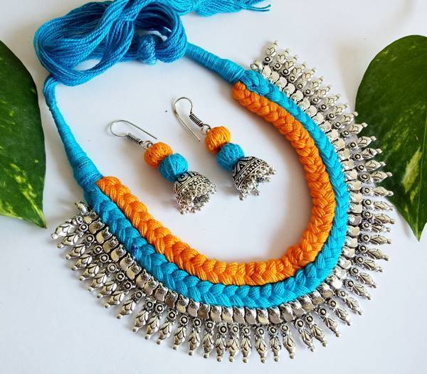 Blue & Yellow Braided German Silver Fringe Necklace Set