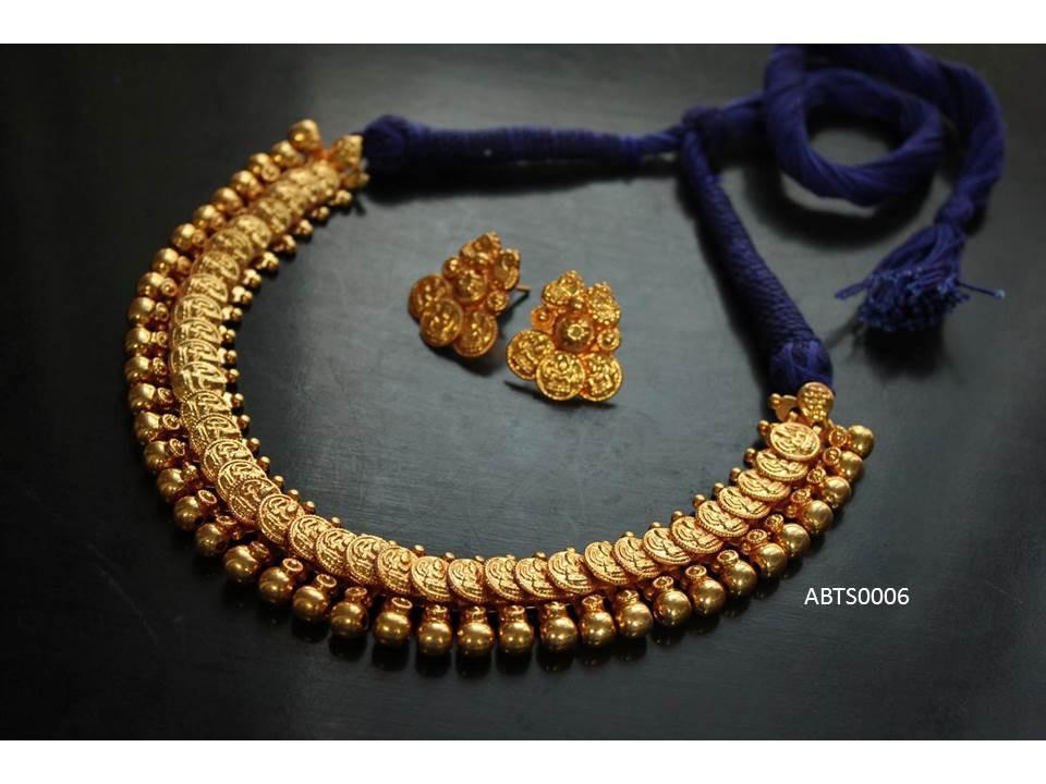 Temple Gold Plated Necklace With Earring