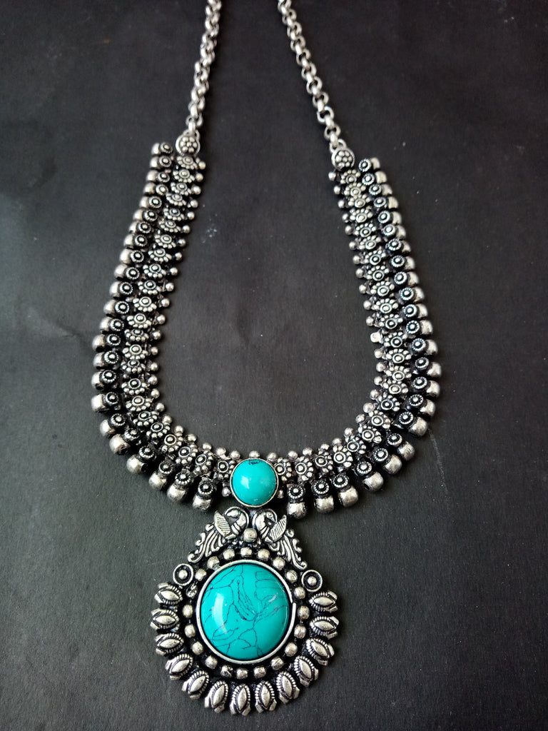 Blue German Silver Kolhapuri Necklace
