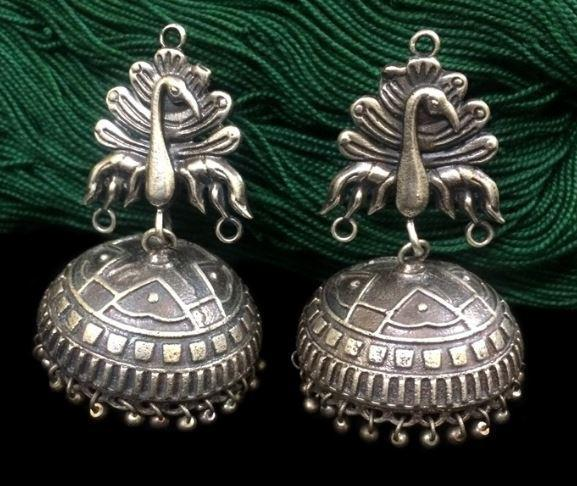 Feather Peacock Silver Replica Jhumka