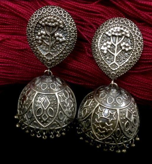 Tree Silver Replica Jhumka